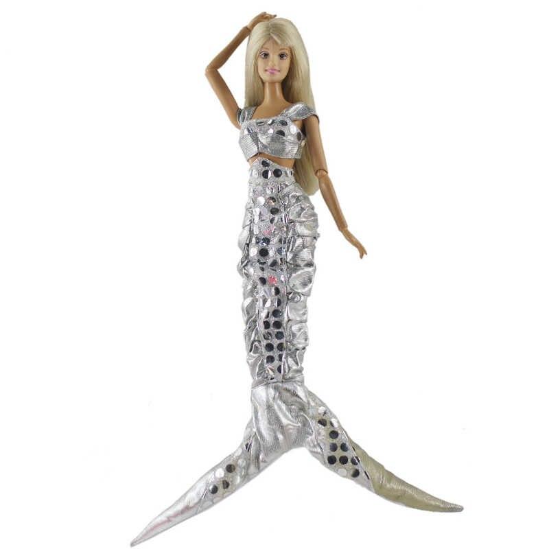 Lentejuelas cola de sirena moda muñeca vestido para muñeca Barbie ropa vestido de noche vestido de fiesta sujetador y Fishtail falda muñecas Accesorios