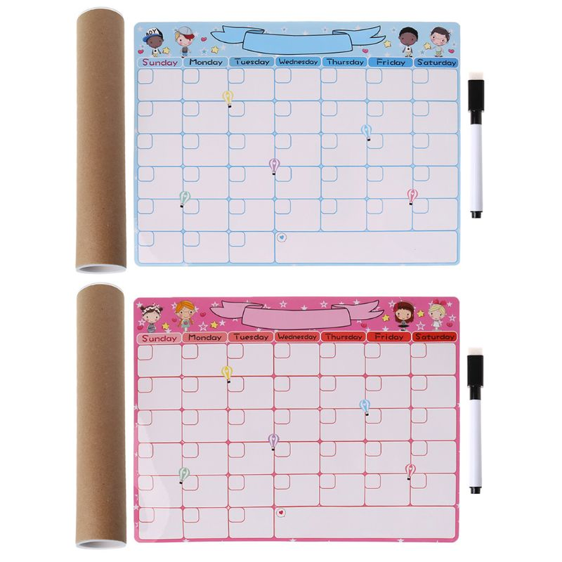1 Set Cute Monthly Planner Magnetic Whiteboard Fridge Magnet Message Board Remind Memo