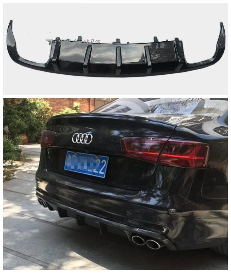 Carbon Fiber Car <font><b>Rear</b></font> Trunk Lip Bumper <font><b>Diffuser</b></font> Protector Cover Fits For <font><b>AUDI</b></font> A6 <font><b>S6</b></font> C7 C7.5 2012 2013 2014 2015 MTM STYLE image