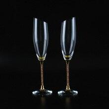 Slantingงานแต่งงานแว่นตาปรับแต่งขลุ่ยแชมเปญทองคริสตัลแก้วตกแต่งH1190