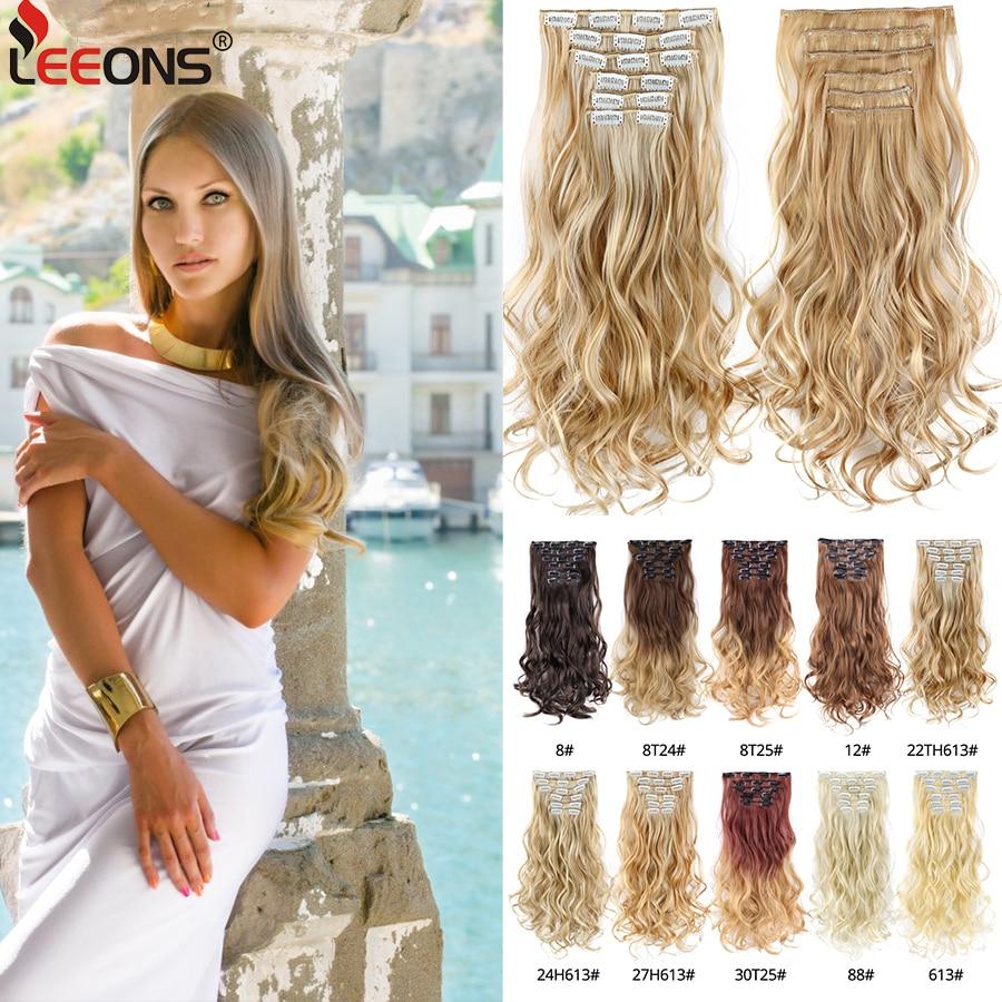 Leeons moda 16 klipler postiş sentetik postiş klipsi kadın saç 1 adet sentetik düz saç Ombre pembe mor mavi