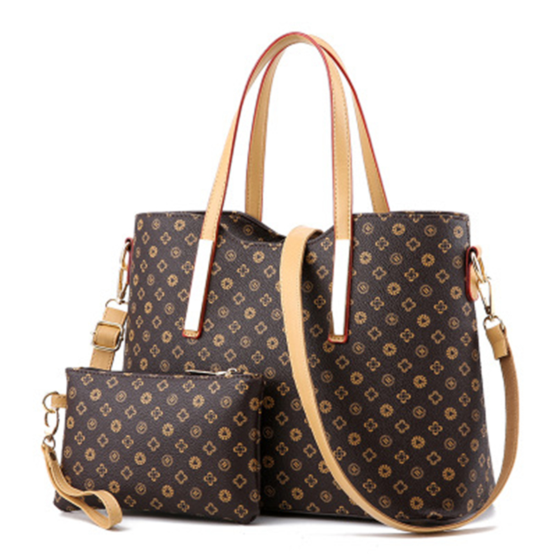 Women Leather Tote Bag Of Classic Print Shoulder Bag Similar To LV Free Shipping