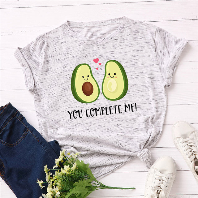 Summer Women T Shirt S-5XL Plus Size 100% Cotton Avocado Print Short Sleeve Lady Tees Tops Casual Loose O-Neck Female TShirt