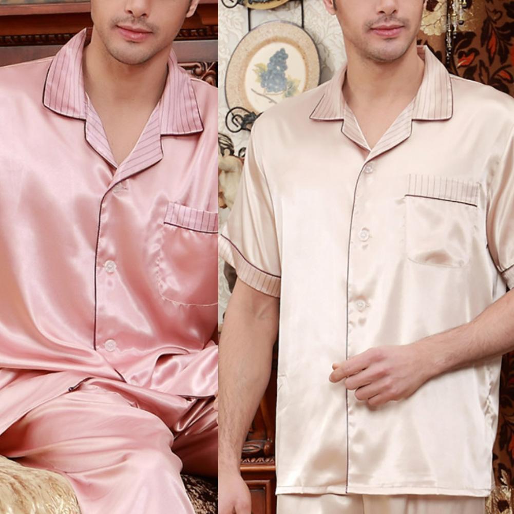 Men Casual Short Sleeve Turn Down Collar Top Pants Pockets Pajamas Sleepwear Set Sexy Pajamas For Men пижама мужская шелк