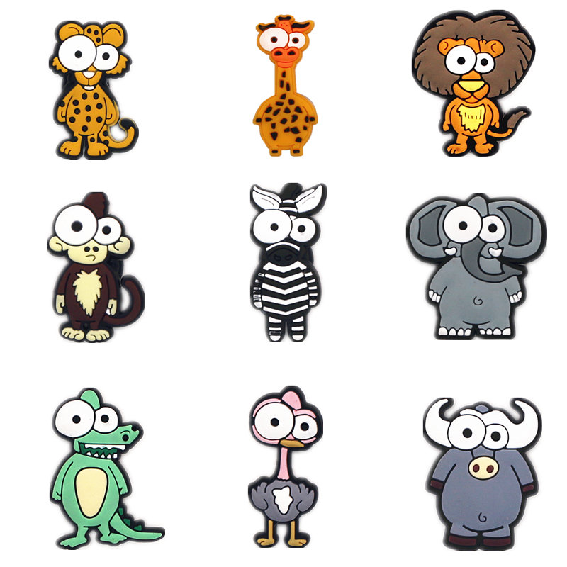 Novelty Cartoon Shoe Charms Accessories Novelty Japan Big Eye Animals Shoe Buckle Decoration For Croc Jibz Kids Party X-mas Gift