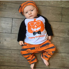 2019  Halloween Toddler Baby Boys Pumpkin Tops Striped Pants Outfits 3Pcs Set Clothes цены онлайн