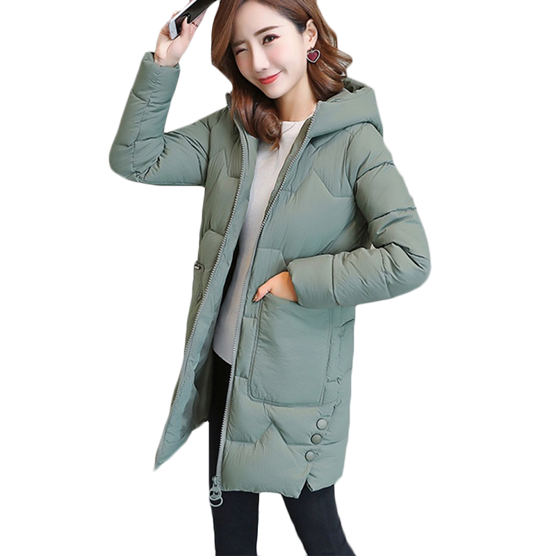 Women Thicken Warm Hooded   Parkas   Winter New Long Plus Size Down cotton Jacket Women's Fashion Wadded Solid Loose Outerwear F897