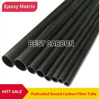 Free shiping OD14mm to 16mm , 500mm length Round Pultruded Carbon Fiber Tube, CFK Rohre , carbon fibre pole