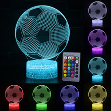 7 / 16 Color Football 3D LED Night Light Remote Touch Control Table Desk Lamp Rugby D30