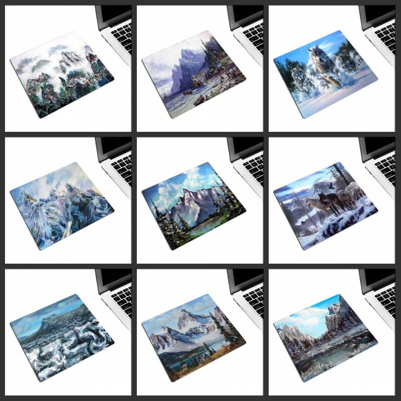 XGZ Promotional Mouse Pad Snow Mountain Scenery Animal Wolf Office Computer Desk Mat Rubber Non-slip Custom Personality Coasters
