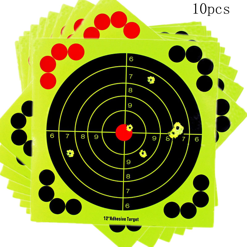 10Pcs Colorful 12Inch Targets Splatter Center Objective Sticker pistol Airsoft Shoot Target Adhesive Reactivity Aim Shoot Target
