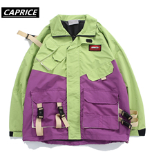 Front pocket Silk ribbon Block Jackets Men Printed Patchwork Windbreaker Jacket Coats 2019 Hip Hop Fashion Full Zip Streetwear недорого