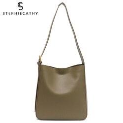 SC кожаная сумка-мешок для женщин 2020 роскошная сумка для девушек из натуральной кожи сумка через плечо модная однотонная сумка-хобо женская ...