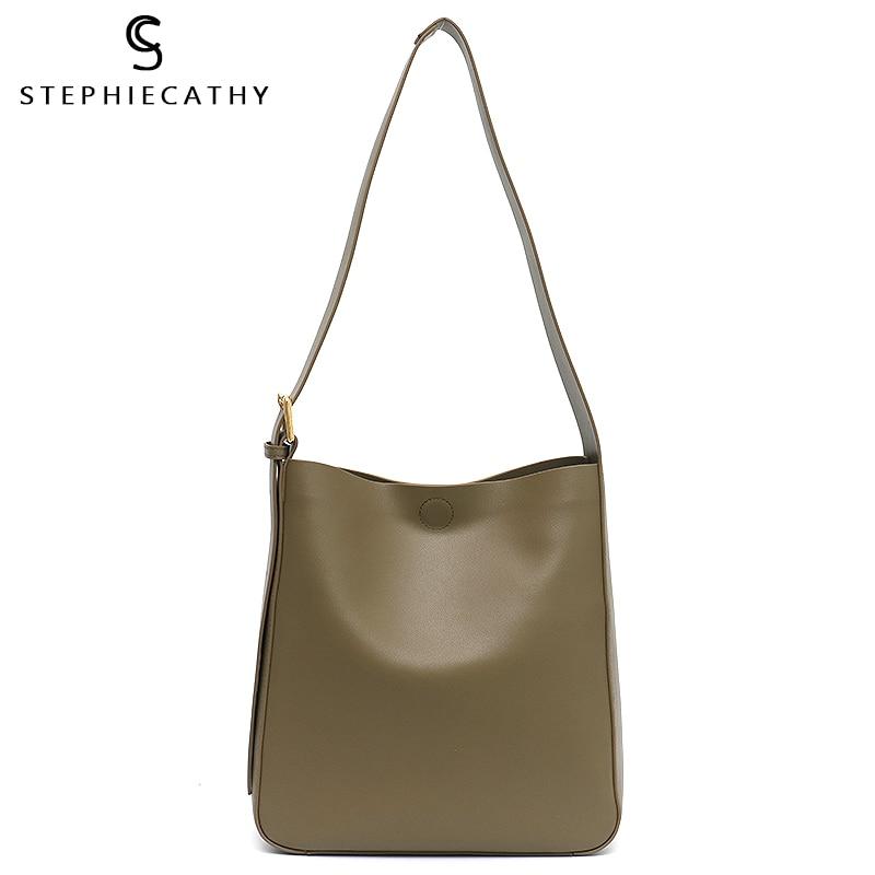 SC Leather Bucket Bag For Women 2020 Luxury Handbag Girl Real Leather Shoulder Crossboby Bag Fashion Solid Hobo Female Messenger