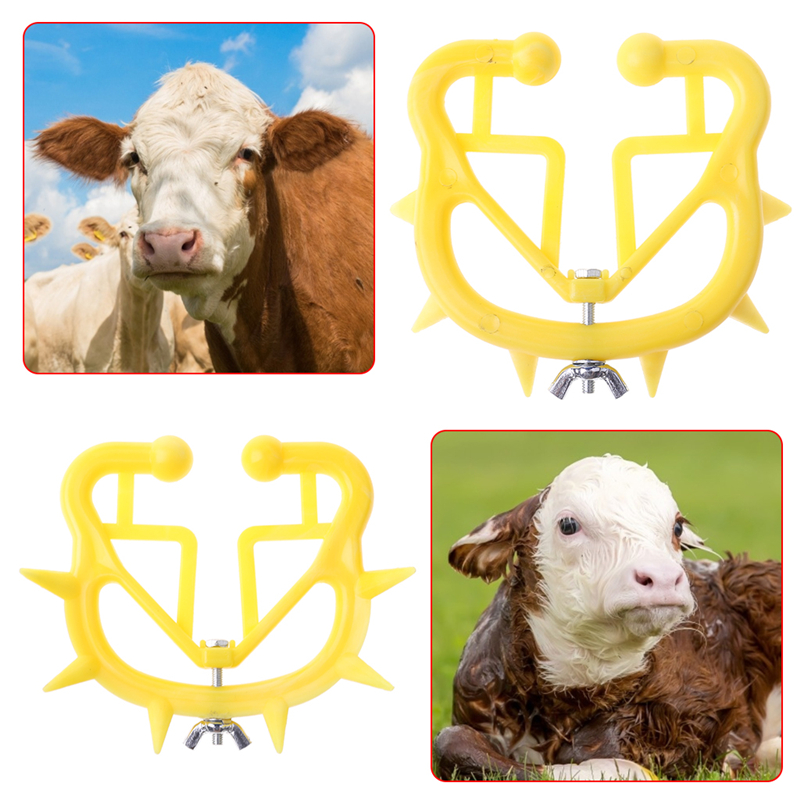 5 Pieces Calf Weaner Cattle Weaning Tool Farm Bovine Nose Clip Yellow