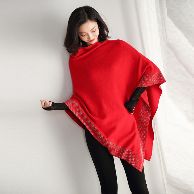 2019 women retro cape coat female cloak autumn 2019 new diamond knitted shawl sweater loose bat sleeve temperament 2