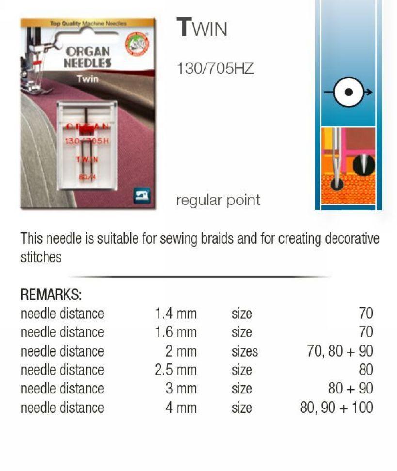 1 gemelo agujas doble aguja 130//705 predeterminado 80//2,5mm flachkolbe