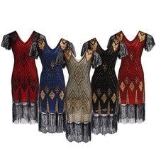Robe femme rugindo 1920s flapper vestido gatsby festa charleston lantejoulas cocktail weeding frisado borla vestidos de banquete