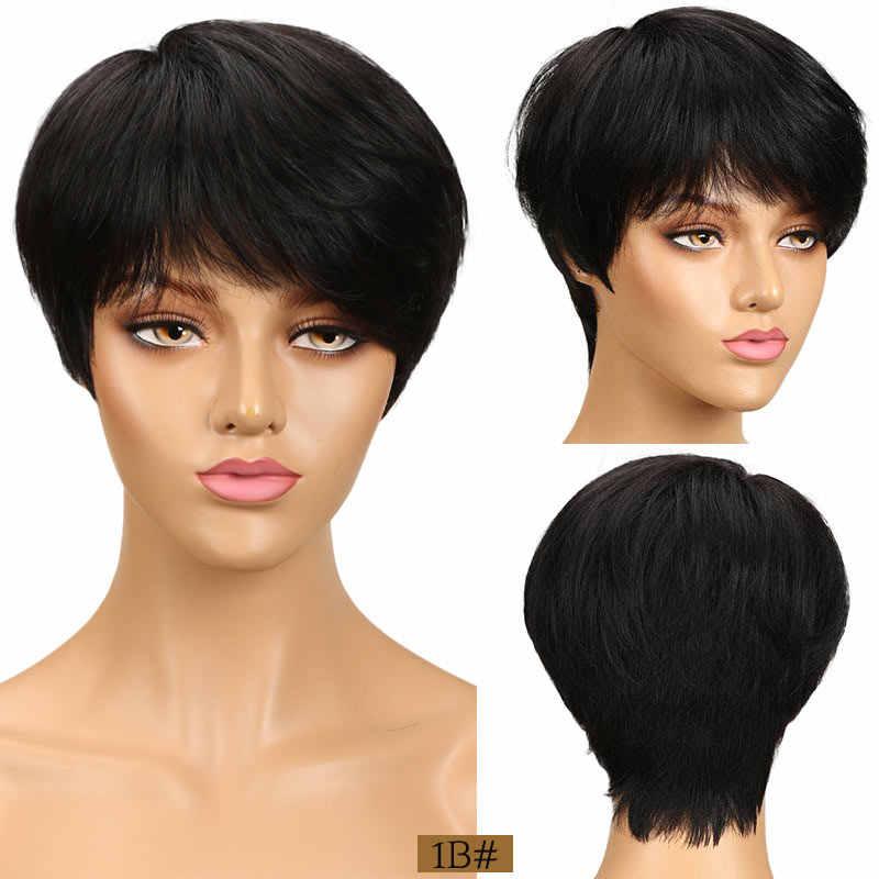 Rebecca kısa kesim düz saç peruk perulu Remy insan saçı tam peruk siyah kadınlar için kahverengi kırmızı renk ucuz saç patlama peruk ile