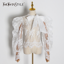 TWOTWINSTYLE embroidery lace womenblouses bow collar lantern long sleeve perspective shirts female 2020 Fashion Clothing tide
