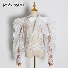 Twotwinstyle刺繍レースwomenblouses弓襟ランタン長袖パースペクティブシャツ女性2020ファッション服潮