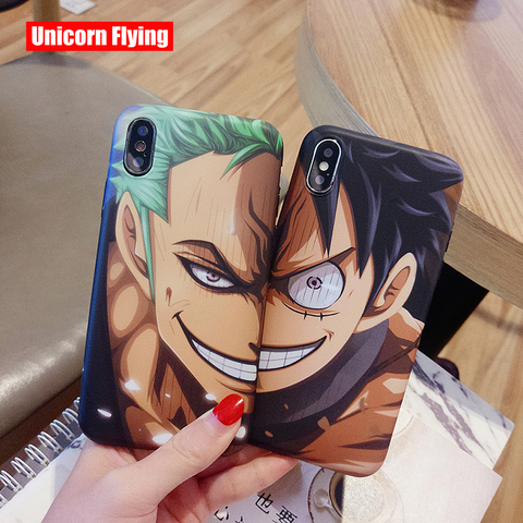 LinXiang Japanese Anime One Piece Luffy Zoro Matte Phone Case Back Cover For iphone 6 6s 7 8 Plus X XS Max XR 11 Pro Pakistan