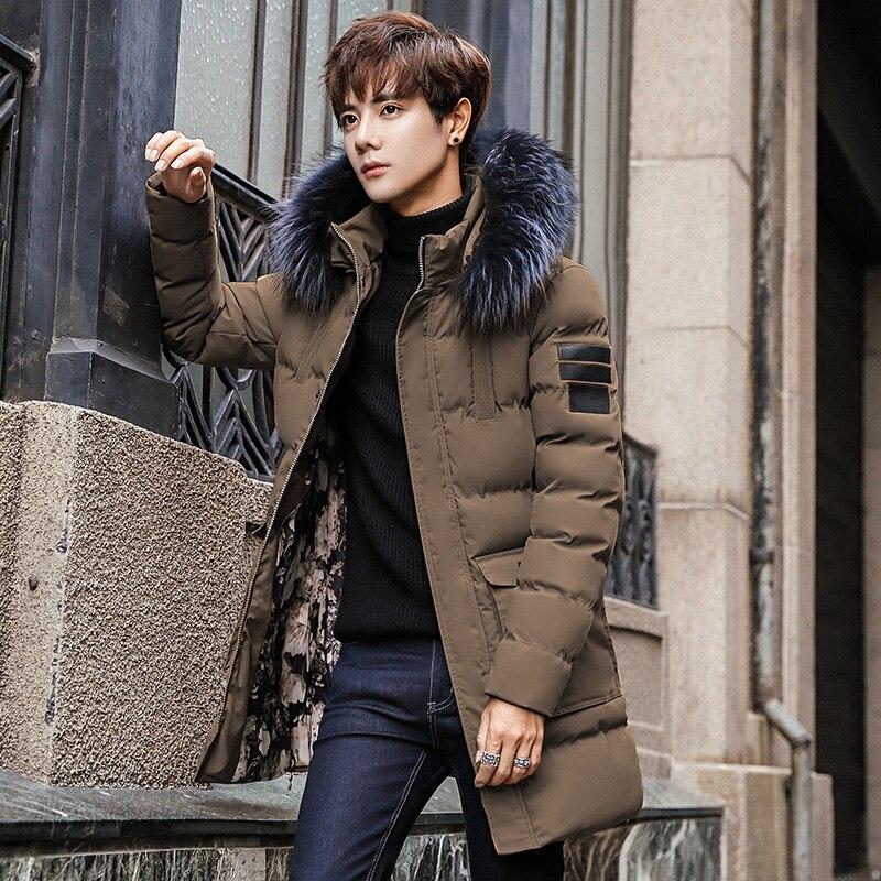 New Coat Men Parka Cotton Thick Long Jacket Winter New Warm Fashion Jackets Coats Fur Collar Men's Parkas Waterproof