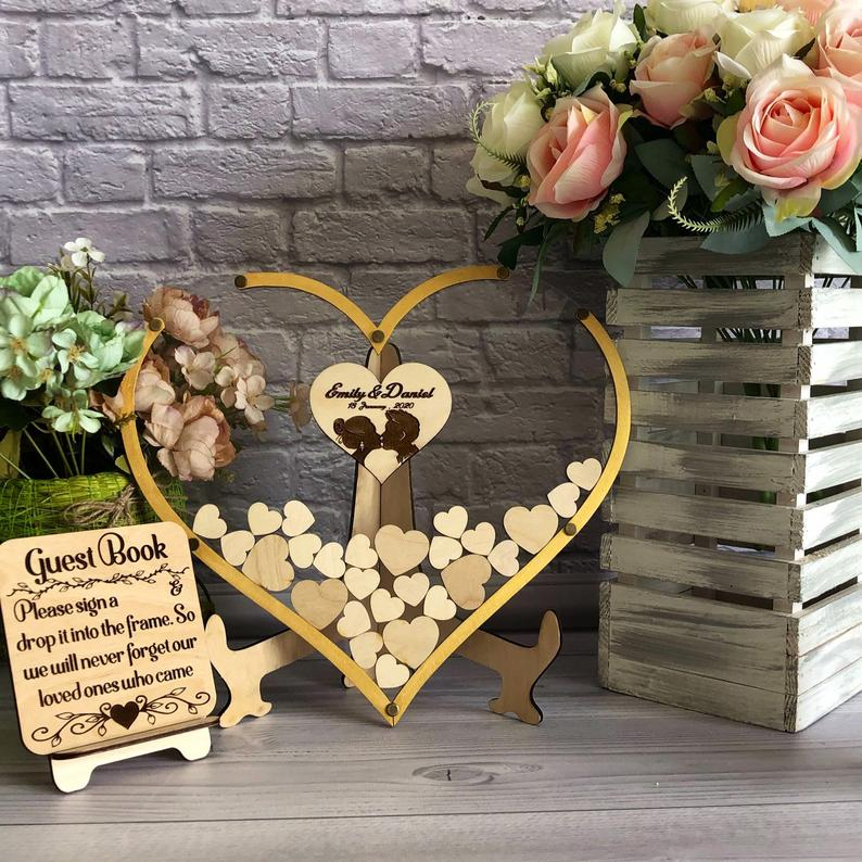 Guest Book Heart-shaped Wooden Frame Gold Border Guest Book Unique Guest Book Custom Acrylic Heart-shaped Wedding Guest Book