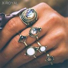 X-ROYAL 6Pcs/set New European Element Water Drop Cobblestone Female Rings Suit Vintage Natural Stone Alloy Finger Knuckle