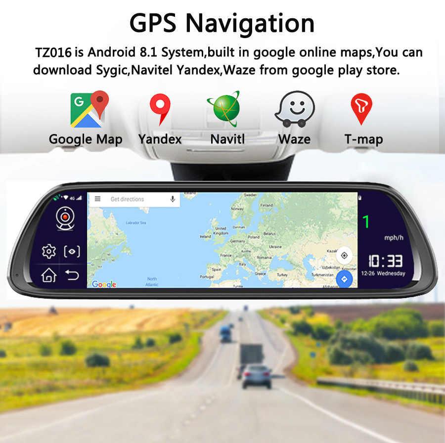 """QUIDUX 4G ADAS רכב DVR מצלמה 10 """"אנדרואיד 8.1 זרם מדיה מראה אחורית FHD 1080P WiFi GPS דאש מצלמת רשם וידאו מקליט"""