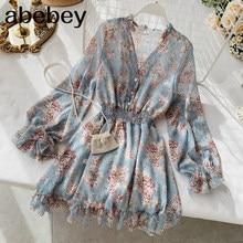 2021 new fashion women's French dress female temperament V-neck long-sleeved chiffon floral dresses