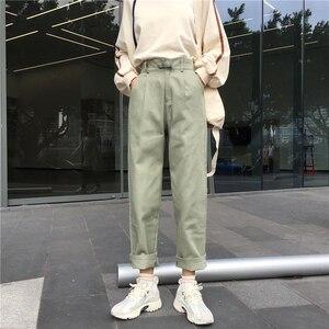 Image 3 - ג ינס נשים ארוך מכנסיים ישר קוריאני סגנון גבוה מותן כיסים נשי מוצק טרנדי Harajuku נשים כל התאמה רך Loose שיק