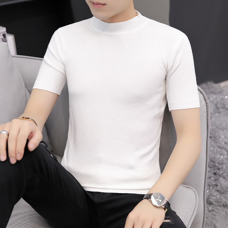 2019Casual Self-cultivation High Lead Neck Knitting Men Sweater Autumn Leisure Short Sleeve Warm Solid Color Male Pullover S-3XL