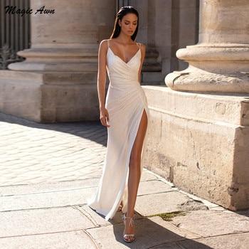 Vestido de novia magico Awn, sirena brillante, lateral dividido, cuello en V,...