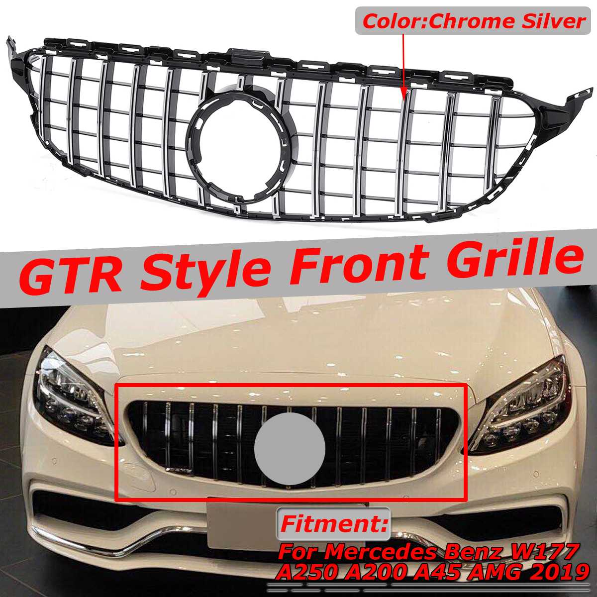 HIgh Quality W205 GTR GT Grill Car Front Bumper Grill Grille <font><b>For</b></font> <font><b>Mercedes</b></font> <font><b>For</b></font> Benz W205 <font><b>C200</b></font> C300 C250 <font><b>2019</b></font>+ Without Camera image