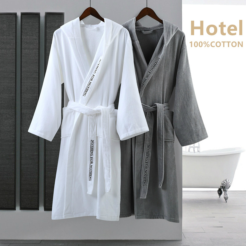 Five Star Hotel Winter Warm Robes Men Women 100% Air Cotton Absorb Water Bathrobe Elegant Letter Embroidered Hooded Bathrobe