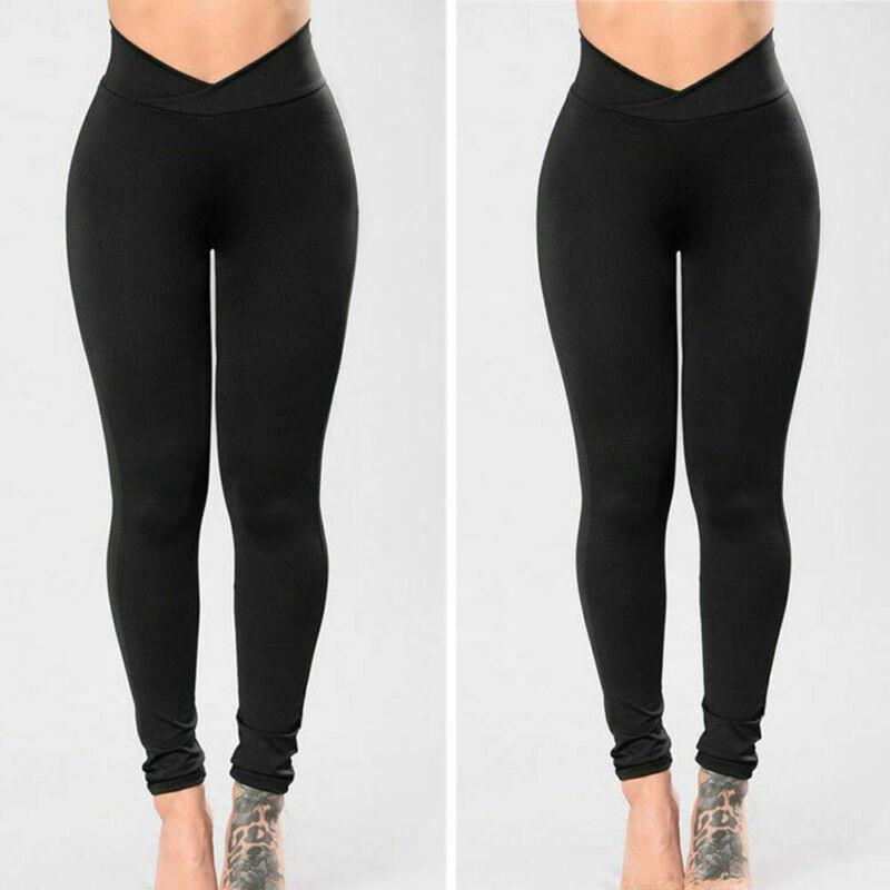 Goocheer New Fashion Womens High Waist Elastic Leggings Fitness Workout Long Skinny Pants Trousers Casual Womens Black Leggings