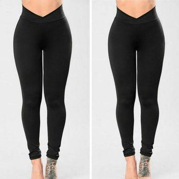 Goocheer New Fashion Womens High Waist Elastic Leggings Fitness Workout Long Skinny Pants Trousers Casual Black