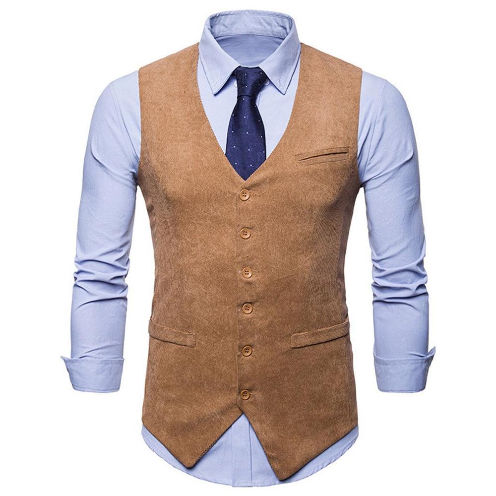 Men Suit Vest 2020 Vintage Corduroy Vest Autumn Winter Solid Color Folk-Custom Button Waistcoat Vest Top Blouse