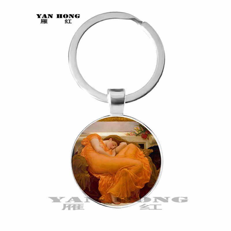 2019,One of the most famous works of art, Mona Lisa / Keith / Girl's Glass Pendant Jewellery discovery, key chain
