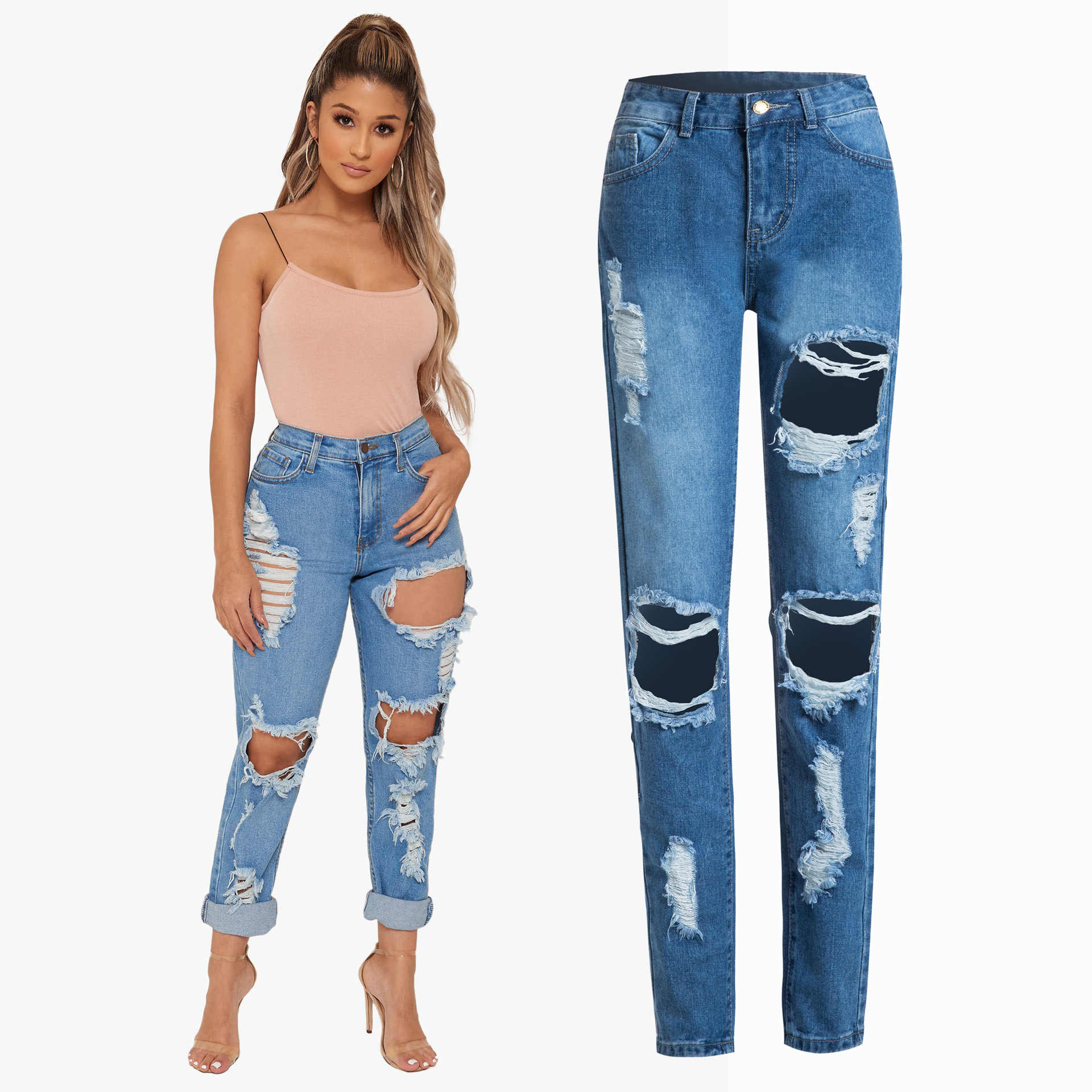 Pantalones Vaqueros Mujer Pantalones Vaqueros Ajustados Pantalones Cortos Mujer Agujero Jeans Mujer 2019 Pantalones Vaqueros Calientes Wmoen Jeans Moda Aliexpress