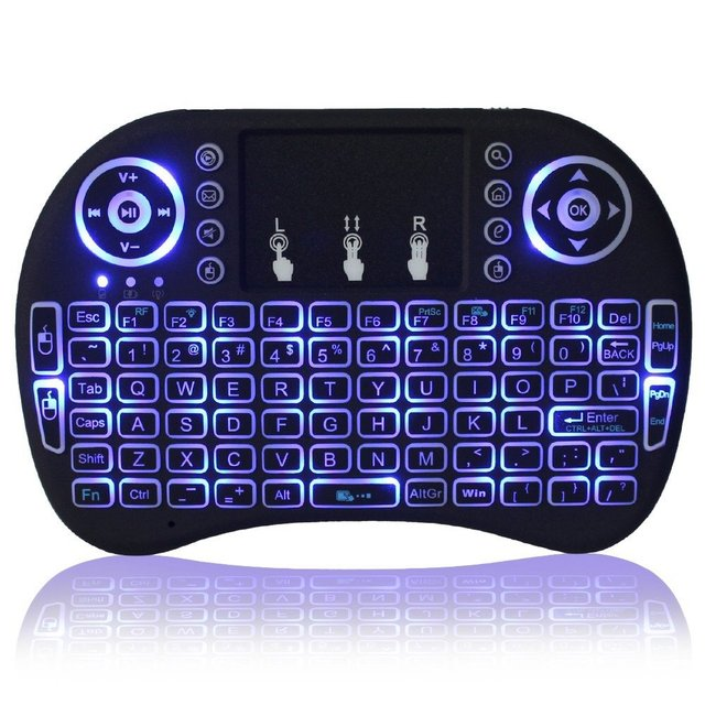 7 color backlit i8 Mini Wireless Keyboard 2.4ghz English Russian Spain Air Mouse with Touchpad 3