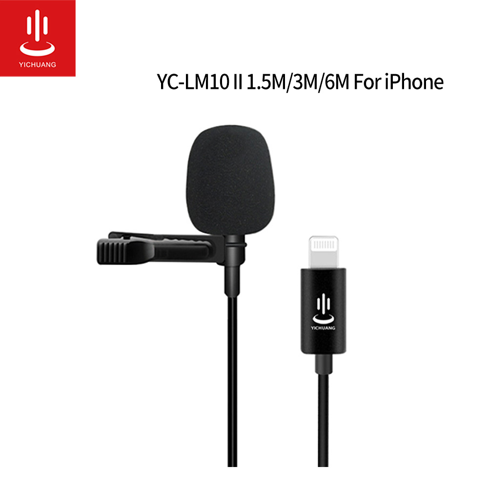 Microphone YC-LM10 II Professional Lavalier Lightning Microphone 1 5M 3M 6M cable For iPhone XS XR X 11 8 8 Plus 6 7 Plus iPad