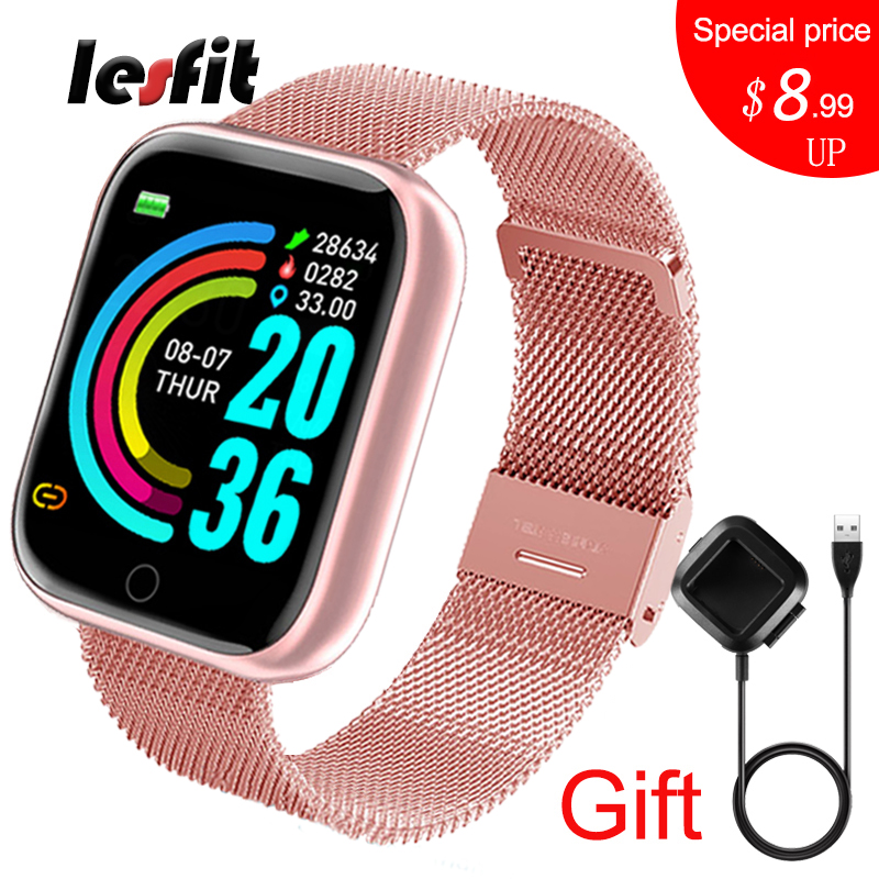 Lesfit rose montre intelligente femmes hommes Smartwatch pour Android IOS Bluetooth bracelet en acier montre intelligente montre électronique Fitness Tracker