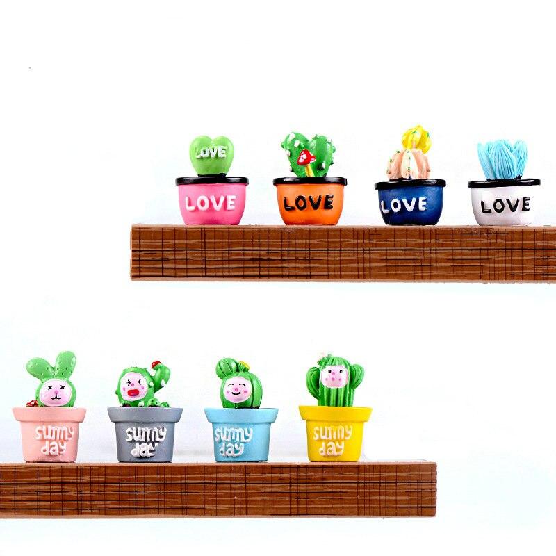 4 шт./лот Мини имитация кактуса маленькие растения в горшках бонсай сказочные садовые фигурки миниатюрный садовый орнамент миниатюрный DIY Д...