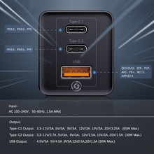 Baseus GaN 65W Fast Charger with Quick Charge 4.0 3.0 AFC SCP USB PD Charger For iPhone 11 Pro Macbook Pro Xiaomi Samsung Huawei