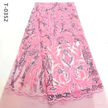 2020 Latest Pink African french lace fabric with velvet sequins embroidered Swiss guipure tulle mesh lace for Nigerian dresses