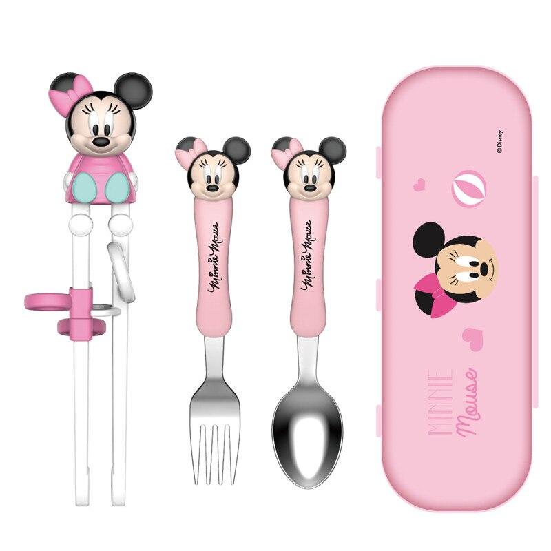 Ensemble de baguettes d'entraînement pour enfants Disney Minnie Mickey enfants apprentissage pratique baguettes vaisselle cuillère fourchette baguettes (lot de 4)