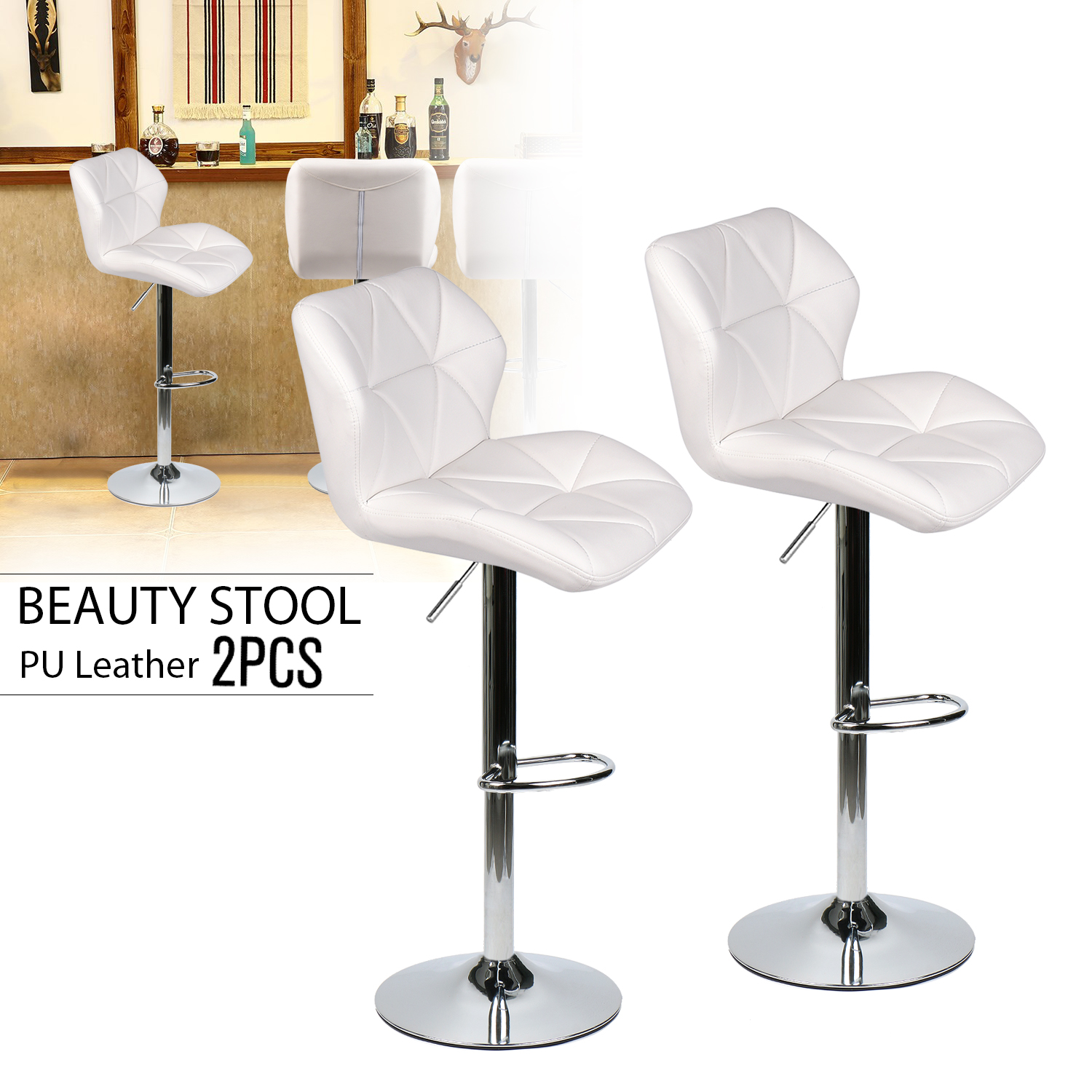 Set Of 2 Bistro Bar Stool Adjustable Counter Chair Hydraulic Lift Dining Kitchen