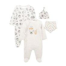 Honeyzone/комбинезоны для новорожденных мальчиков; комплекты из 2 предметов; хлопковые комбинезоны с длинными рукавами с героями мультфильмов; нагрудники и шапки